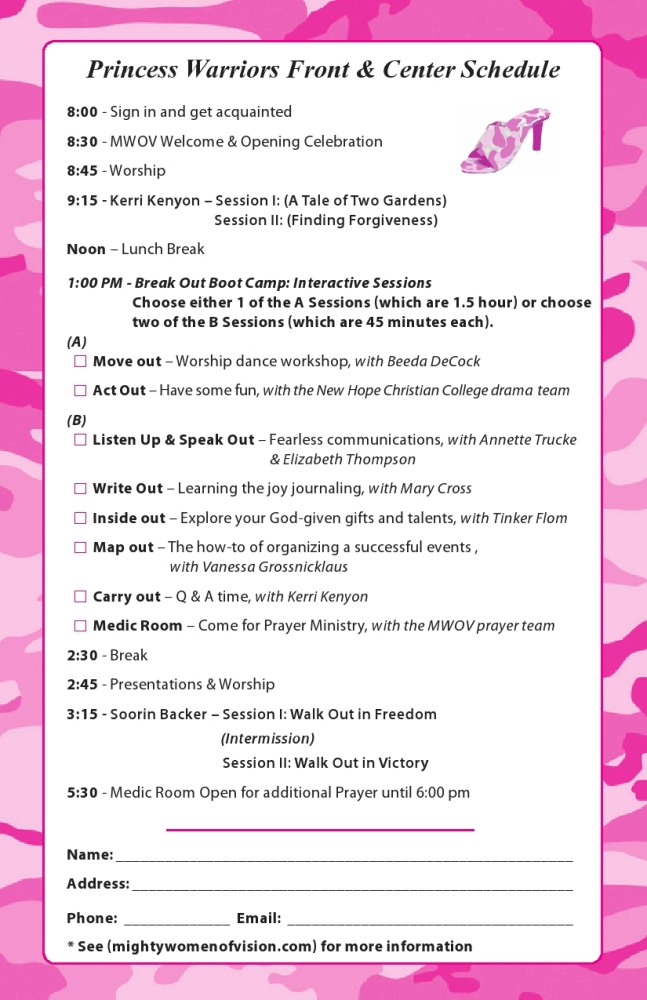 Princess Warriors–Front & Center Conference Fliers (2/2)